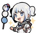 1girl bangs bloop_(gawr_gura) blue_bow blue_eyes blue_hair bow chibi coat dango drooling eyebrows_visible_through_hair food gawr_gura hololive hololive_english monster_hunter_(series) ninomae_ina'nis_(artist) over_shoulder sharp_teeth sidelocks sparkle sparkling_eyes teeth thick_outlines two_side_up wagashi weapon weapon_on_back weapon_over_shoulder white_coat