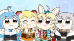 4girls :3 ahoge animal_ears arm_up bear_ears bell bkub_(style) black_jacket blonde_hair blue_background blue_hair blue_jacket blue_neckwear closed_eyes commentary_request crop_top dress eyebrows_visible_through_hair flower fox_ears grey_eyes grey_hair hair_flower hair_ornament hat heart_ahoge hololive jacket jewelry kumaane lion_ears long_hair looking_at_another momosuzu_nene multicolored_hair multiple_girls neck_bell neck_ribbon necklace nepolabo off_shoulder omaru_polka orange_dress pointy_ears poptepipic red_dress ribbon shirt shishiro_botan short_hair sideways_glance simple_background single_sleeve sleeveless sleeveless_shirt smile standing streaked_hair tearing_up tears thumbs_up underbust upper_body very_long_hair violet_eyes virtual_youtuber white_dress white_headwear wiping_tears yellow_eyes yukihana_lamy