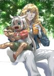 1boy age_difference bishounen blonde_hair blue_eyes caenis_(fate) cup dark_skin dark_skinned_female drinking_straw fate/grand_order fate_(series) food formal hair_intakes hamburger headband highres kirschtaria_wodime mamesuke_mame outdoors shirt shorts size_difference suit t-shirt tree white_hair white_suit