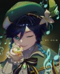 1boy alcohol androgynous apple_slice artist_name aximxi bangs beret black_hair blue_hair blurry blurry_foreground bow braid brooch cape collared_cape collared_shirt cup flower frilled_sleeves frills gem genshin_impact glass gradient gradient_background gradient_hair green_eyes green_headwear hat hat_flower highres holding holding_cup ice instrument jewelry leaf long_sleeves looking_at_viewer lyre male_focus multicolored_hair musical_note one_eye_closed open_mouth shirt short_hair_with_long_locks simple_background smile solo twin_braids venti_(genshin_impact) white_flower white_shirt