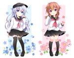 2girls anchor_symbol black_footwear black_legwear black_sailor_collar black_skirt blue_eyes brown_hair commentary_request flat_cap flower folded_ponytail full_body hat hibiki_(kancolle) highres inazuma_(kancolle) kantai_collection kashiwadokoro kneehighs loafers long_hair looking_at_viewer multiple_girls neckerchief pleated_skirt red_neckwear sailor_collar school_uniform serafuku shoes silver_hair simple_background skirt smile solo standing thigh-highs white_background