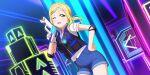 blonde_hair blush dress love_live!_school_idol_festival_all_stars ohara_mari short_hair smile wink yellow_eyes