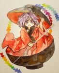 1girl bowl bowl_hat hat holding holding_needle in_bowl in_container japanese_clothes key747h kimono minigirl needle open_mouth paper_texture purple_hair rainbow_order red_kimono sukuna_shinmyoumaru touhou traditional_media violet_eyes watercolor_(medium) wide_sleeves