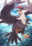 45_(maruyaki45) bird bright_pupils brown_eyes clouds day from_below gen_4_pokemon highres looking_back no_humans open_mouth outdoors pokemon pokemon_(creature) sky solo staraptor symbol_commentary talons tongue white_pupils