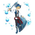 1boy belt black_pants blonde_hair blue_eyes blue_footwear blue_jacket brown_belt closed_mouth collarbone collared_shirt dress_shirt eugeo full_body hat highres holding holding_sword holding_weapon jacket long_sleeves looking_at_viewer male_focus official_art open_clothes open_jacket pants pirate pirate_hat saber_(weapon) shield shirt short_hair smile solo sword sword_art_online sword_art_online:_memory_defrag transparent_background weapon white_shirt wing_collar