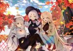 3girls alternate_costume autumn_leaves azur_lane beige_coat belt black_bow black_headwear black_ribbon blonde_hair blue_eyes blue_sky bow breasts cleavage_cutout closed_eyes clothing_cutout clouds coat denim eyebrows_visible_through_hair formidable_(azur_lane) hair_ribbon high_heels illustrious_(azur_lane) jeans large_breasts leaf leaf_on_breast leaf_on_head long_hair maple_leaf multiple_girls one_eye_closed open_mouth pants pantyhose picnic_basket platinum_blonde_hair purple_skirt purple_sweater red_belt red_eyes red_footwear reflection ribbon rimsuk see-through shiny shiny_skin shirt shoes skirt sky sleeveless_sweater sweater torn_clothes torn_jeans torn_pants tri_tails twintails very_long_hair victorious_(azur_lane) water white_coat white_footwear white_hair white_headwear white_shirt