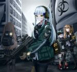 404_(girls_frontline) 4girls absurdres agent_416_(girls_frontline) assault_rifle back backpack bag bangs black_gloves black_jacket black_legwear black_shorts black_skirt blue_hair blush brown_gloves brown_hair closed_eyes closed_mouth daisy_cutter eyebrows_visible_through_hair fingerless_gloves g11_(girls_frontline) girls_frontline gloves green_eyes green_jacket grey_hair gun h&k_g11 h&k_hk416 h&k_ump headphones highres hk416_(girls_frontline) holding holding_weapon jacket light_brown_hair long_hair looking_at_viewer multiple_girls navel pantyhose rifle saliva scarf shirt shorts simple_background skirt smile standing submachine_gun tom_clancy's_the_division_2 twintails ump45_(girls_frontline) ump9_(girls_frontline) weapon white_shirt