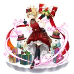 1girl animal_ears argo_the_rat black_gloves black_legwear blonde_hair box cat_ears closed_mouth dress facial_mark faux_figurine full_body gift gift_box gloves hand_on_hip highres looking_at_viewer official_art red_dress shiny shiny_hair short_hair sleeveless sleeveless_dress slit_pupils smile solo standing sword_art_online sword_art_online:_memory_defrag thigh-highs transparent_background yellow_eyes zettai_ryouiki