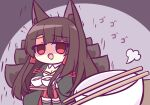 1girl akagi_(azur_lane) animal_ear_fluff animal_ears azur_lane black_kimono brown_tail chopsticks eyebrows_visible_through_hair food fox_ears fox_tail holding holding_tray japanese_clothes kashimu kimono kitsune kyuubi large_tail miniskirt multiple_tails open_clothes open_kimono pleated_skirt red_eyes red_skirt shaded_face skirt solo soup tail thigh-highs tray yandere zettai_ryouiki