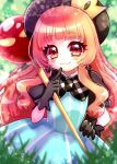 1girl :3 absurdres akumu aqua_dress bangs beret black_gloves black_headwear black_sleeves blunt_bangs blurry blurry_background blush close-up closed_mouth commentary_request crown depth_of_field dress earrings eyes_visible_through_hair gloves gradient_hair grass hair_over_shoulder hand_on_hip hat highres holding holding_staff index_finger_raised jewelry kazusa_hiyori light_particles long_hair looking_at_viewer mewkledreamy mexkledreamy_mix! mini_crown multicolored_hair orange_hair outdoors pointing pointing_at_self puffy_short_sleeves puffy_sleeves red_eyes short_sleeves smile solo staff striped striped_dress twitter_username upper_body wavy_hair white_stripes