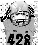 1girl adjusting_clothes adjusting_headwear alternate_costume american_football_uniform bangs black_gloves blush closed_mouth commentary_request copyright_name gloves go-toubun_no_hanayome greyscale hair_between_eyes haruba_negi helmet monochrome nakano_yotsuba smile solo sportswear upper_body