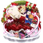1girl ;d animal_ears argo_the_rat black_gloves black_legwear blonde_hair bow box cat_ears cat_tail dress facial_mark full_body gift gift_bag gift_box gloves hair_bow highres holding holding_box layered_dress looking_at_viewer official_art one_eye_closed open_mouth red_bow red_dress shiny shiny_hair short_hair sleeveless sleeveless_dress smile solo sword_art_online sword_art_online:_memory_defrag tail thigh-highs transparent_background yellow_eyes