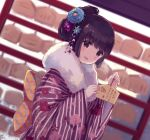1girl :d black_hair blue_flower blurry blurry_background commentary_request depth_of_field dutch_angle ema floral_print flower fur_collar hair_flower hair_ornament hands_up high_ponytail holding japanese_clothes kimono long_sleeves nekomo open_mouth original ponytail print_kimono purple_flower purple_kimono sleeves_past_wrists smile solo striped striped_kimono translation_request upper_body wide_sleeves