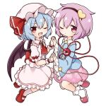 2girls blue_hair blue_shirt commentary_request demon_wings eyebrows_visible_through_hair from_side full_body hairband highres holding_hands komeiji_satori mary_janes multiple_girls one_eye_closed open_mouth pink_footwear pink_skirt pointy_ears purple_hair red_eyes red_footwear remilia_scarlet shirt shoes short_hair simple_background skirt slippers smile socks suwa_yasai third_eye touhou white_background white_footwear white_headwear white_shirt white_skirt wings