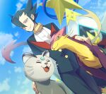1boy alolan_form alolan_persian artist_name bangs blue_eyes blurry blurry_background buttons clouds commentary_request day elite_four floating_scarf from_below gen_5_pokemon gen_7_pokemon grimsley_(pokemon) hair_between_eyes highres jacket liepard looking_at_viewer male_focus momoji_(lobolobo2010) outdoors pants parted_lips pokemon pokemon_(creature) pokemon_(game) pokemon_bw pokemon_masters_ex scarf sky smile spiky_hair standing yellow_scarf