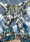 absurdres clouds garimpeiro glowing glowing_eyes green_eyes gundam gundam_hathaway's_flash highres looking_up mecha mobile_suit no_humans open_hands science_fiction sky solo standing v-fin xi_gundam