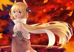 1girl absurdres arms_behind_back autumn_leaves azur_lane bare_shoulders blonde_hair blue_eyes brown_coat coat coat_dress ebichiri_sunday highres huge_filesize laurel_crown leaf long_hair maple_leaf official_alternate_costume open_mouth purple_sweater ribbed_sweater scarf sleeveless_sweater solo sweater sweater_vest taut_sweater_vest upper_body victorious_(azur_lane) victorious_(goddess'_day_off)_(azur_lane) white_scarf