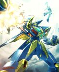 blue_eyes clenched_hand explosion green_eyes grungust_ichishiki highres huckebein ishiyumi looking_up mecha no_humans rocket_punch science_fiction solo_focus super_robot_wars super_robot_wars_original_generation v-fin