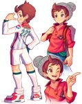 1boy arnaud_tegny bangs beanie brown_bag brown_eyes brown_hair buttons closed_mouth commentary denim grey_headwear hat highres holding holding_poke_ball holding_strap jeans kneepits long_sleeves male_focus multiple_views pants plaid poke_ball poke_ball_(basic) pokemon pokemon_(game) pokemon_swsh red_shirt shirt shoes short_hair shorts sleeves_rolled_up smile socks standing swept_bangs victor_(pokemon) white_footwear white_legwear white_shirt white_shorts
