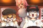 3girls alternate_eyewear animal_ears apron baseball_cap blonde_hair bow bowtie brown_jacket cabbie_hat casual commentary_request eating elbow_gloves extra_ears eyebrows_visible_through_hair fangs food glasses gloves green_eyes grey_hair hat jacket jaguar_(kemono_friends) jaguar_ears jaguar_girl kemono_friends kemono_friends_3 multicolored_hair multiple_girls noodles official_alternate_costume open_mouth otter_ears otter_girl panther_ears panther_girl peach_panther_(kemono_friends) pink_gloves pink_hair pink_neckwear ramen shirt short_hair short_sleeves small-clawed_otter_(kemono_friends) sweatdrop t-shirt tapt67ew tray two-tone_hair white_apron white_hair white_shirt yellow_eyes