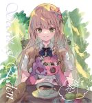 1girl baguette bangs braid bread brigare brown_hair chair cup eyebrows_visible_through_hair flower food green_eyes hair_between_eyes hair_flower hair_ornament long_hair looking_at_viewer macaron makihitsuji object_hug on_chair parted_lips plate red_flower saucer signature smile solo stuffed_animal stuffed_cat stuffed_toy table very_long_hair