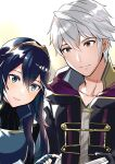 1boy 1girl ameno_(a_meno0) blue_eyes blue_hair book fingerless_gloves fire_emblem fire_emblem_awakening gloves lucina_(fire_emblem) reading robin_(fire_emblem) robin_(fire_emblem)_(male) short_hair smile symbol-shaped_pupils tiara white_hair yellow_eyes