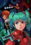 1girl 2boys amuro_ray axis_(gundam) bangs blonde_hair blue_eyes blue_hair brown_hair cape char's_counterattack char_aznable glowing glowing_eye gundam hair_behind_ear hungry_clicker mecha military military_uniform multiple_boys one-eyed outstretched_arm parted_lips pilot_suit psycho_frame quess_paraya sazabi science_fiction twintails uneven_twintails uniform white_cape zeon