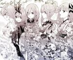 5girls :d :o bangs blunt_bangs blush breasts closed_mouth commentary_request flower from_side go-toubun_no_hanayome greyscale hair_between_eyes hair_flower hair_ornament hairband hand_on_another's_shoulder haruba_negi headphones headphones_around_neck highres holding japanese_clothes kimono long_bangs long_hair long_sleeves looking_at_viewer looking_to_the_side monochrome multiple_girls nakano_ichika nakano_itsuki nakano_miku nakano_nino nakano_yotsuba official_art open_mouth parted_lips sash short_hair siblings simple_background sisters smile standing star_(symbol) star_hair_ornament wide_sleeves yukata