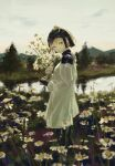 1girl 7ife absurdres armor blonde_hair blurry blurry_background bouquet dress facing_to_the_side flower helmet highres holding holding_bouquet looking_at_viewer mountainous_horizon original outdoors river shoulder_armor solo standing tree white_dress yellow_eyes