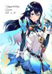 1girl alternate_costume ameno_(a_meno0) blue_eyes blue_hair bug butterfly elbow_gloves fingerless_gloves fire_emblem fire_emblem_awakening fire_emblem_heroes flower gloves hair_flower hair_ornament happy_birthday highres insect long_hair lucina_(fire_emblem) smile solo symbol-shaped_pupils tiara wings