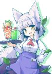 :d animal_ears apron ascot bangs black_bow blue_apron blunt_bangs blush bow breasts brown_eyes buttons cherry collared_shirt commentary dessert food fox_ears fox_girl fox_tail fruit green_outline hair_bow hair_intakes head_tilt highres holding holding_tray ice_cream kareya kitsune large_breasts leaf long_sleeves looking_at_viewer machikado_mazoku medium_hair multicolored multicolored_eyes notebook open_mouth outline parfait pen pen_in_pocket pocket red_neckwear riko_(machikado_mazoku) shirt simple_background smile strawberry sundae suspenders tail tray upper_body wafer wafer_stick waitress whipped_cream white_background white_hair white_shirt white_tail yellow_eyes