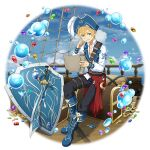 1boy bangs barrel black_pants blonde_hair blue_eyes blue_footwear blue_headwear blue_sky blue_vest boots clouds collarbone collared_shirt dress_shirt eugeo full_body gem gold_coin grin hair_between_eyes hat hat_feather highres knee_boots male_focus ocean official_art open_clothes open_vest pants pirate_hat saber_(weapon) shield shirt short_hair sitting sky smile solo sword sword_art_online sword_art_online:_memory_defrag thigh_strap transparent_background vest weapon white_feathers white_shirt wing_collar