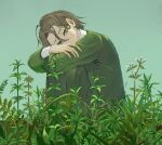 1girl androgynous crossed_arms grass green_background green_eyes green_sweater green_theme hair_behind_ear hair_between_eyes head_on_knees highres light_brown_hair original plant shirt short_hair simple_background skkc_128 solo sweater white_shirt