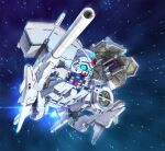 blue_eyes chibi clenched_hands dendrobium_schema flying glowing glowing_eyes gundam gundam_0083 gundam_gp-03_stamen looking_to_the_side mecha mobile_armor mobile_suit no_humans science_fiction solo space susagane textless v-fin