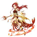 1girl detached_sleeves dress floating_hair full_body gradient_sleeves hair_intakes highres holding holding_staff layered_dress leg_up long_hair long_sleeves official_art open_mouth pumps red_dress red_eyes red_footwear redhead shiny shiny_hair short_dress sleeveless sleeveless_dress smile solo staff sword_art_online sword_art_online:_memory_defrag tiese_schtrinen transparent_background very_long_hair yellow_sleeves