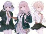 3girls ahoge akamatsu_kaede alternate_hair_length alternate_hairstyle backpack bag bangs black_gloves black_jacket black_legwear black_ribbon black_skirt blonde_hair blush braid breasts brown_skirt collared_shirt commentary_request cowboy_shot danganronpa:_trigger_happy_havoc danganronpa_(series) danganronpa_2:_goodbye_despair danganronpa_v3:_killing_harmony dress_shirt eighth_note eyebrows_visible_through_hair flipped_hair from_side gloves hair_ornament hair_ribbon hairclip hand_in_hair hand_up highres hood hooded_jacket jacket kirigiri_kyouko light_brown_hair long_hair long_sleeves looking_at_viewer medium_hair messy_hair miniskirt multiple_girls musical_note musical_note_hair_ornament nanami_chiaki necktie nokoru_sora open_clothes open_jacket parted_lips pink_eyes pleated_skirt randoseru ribbon school_uniform shirt shirt_tucked_in short_hair simple_background sketch skirt sleeves_past_wrists smile squinting standing sweater_vest teeth thigh-highs violet_eyes white_background white_shirt
