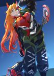 1girl blue_eyes breasts cosplay eva_02_alpha eva_02_alpha_(cosplay) evangelion:_3.0+1.0_thrice_upon_a_time gloves green_jumpsuit hair_behind_ear highres holding holding_weapon long_hair looking_at_viewer looking_down medium_breasts neon_genesis_evangelion one_eye_covered orange_hair pilot_suit plugsuit rebuild_of_evangelion red_gloves sakusakusakurai shikinami_asuka_langley solo souryuu_asuka_langley two_side_up weapon