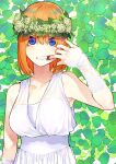 absurdres arm_up bangs bare_shoulders breasts collarbone commentary_request dress finger_in_mouth fingernails flower go-toubun_no_hanayome green_background hair_between_eyes hair_flower hair_ornament haruba_negi highres leaf looking_at_viewer nakano_yotsuba official_art open_mouth orange_hair short_hair simple_background sleeveless sleeveless_dress upper_body white_dress