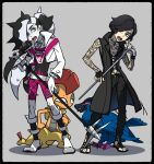 2boys bangs belt bike_shorts black_belt black_gloves black_hair black_pants character_request coat commentary_request cropped_jacket devil_may_cry_5 eyeshadow fingerless_gloves gen_5_pokemon gloves green_eyes griffon_(devil_may_cry_5) gym_leader highres holding holding_microphone jacket kagio_(muinyakurumi) long_hair makeup male_focus microphone microphone_stand multicolored_hair multiple_boys number open_clothes open_coat pants piers_(pokemon) pokemon pokemon_(creature) pokemon_(game) pokemon_swsh sandals scrafty shirt singer standing toes two-tone_hair v_(devil_may_cry) white_hair white_jacket