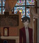 1girl androgynous black_hair bolo_tie church collared_shirt cross curtains expressionless highres indoors jacket looking_to_the_side original red_eyes red_jacket red_neckwear shirt short_hair skkc_128 solo stained_glass suit_jacket upper_body white_shirt window