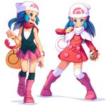 1girl arnaud_tegny bag beanie black_legwear blue_eyes blue_hair blush boots bracelet closed_mouth coat commentary dawn_(pokemon) duffel_bag eyelashes hat highres holding holding_poke_ball jewelry kneehighs knees long_sleeves multiple_views open_mouth over-kneehighs pink_footwear poke_ball pokemon pokemon_(game) pokemon_dppt pokemon_platinum red_coat red_scarf repeat_ball scarf smile thigh-highs tongue white_background white_bag white_headwear white_legwear white_scarf yellow_bag