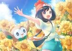 1girl :d arm_up artist_name bag bangs beanie black_hair clouds commentary_request day eyelashes floral_print flower gen_7_pokemon green_shorts grey_eyes hat medium_hair open_mouth outdoors outstretched_arms pokemon pokemon_(creature) pokemon_(game) pokemon_sm punico_(punico_poke) red_headwear rowlet selene_(pokemon) shirt short_sleeves shorts shoulder_bag sky smile spread_fingers starter_pokemon tied_shirt tongue watermark yellow_flower yellow_shirt