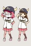 2girls ;) bangs baseball_cap baseball_jersey baseball_uniform black_headwear blunt_bangs blush brown_hair buffalo_bell buffalo_bell_(cosplay) closed_mouth clothes_writing commentary cosplay cow_horns crossover dot_nose full_body gloves grey_background hand_on_hip hand_up hat highres hitoribocchi_no_marumaru_seikatsu honshou_aru horned_headwear horns katsuwo_(cr66g) long_hair mascot matching_outfit medium_hair miniskirt multiple_girls nippon_professional_baseball one_eye_closed orix_buffaloes pink_hair pink_skirt pleated_skirt pose shirt short_sleeves side-by-side sidelocks simple_background skirt smile sportswear standing striped striped_skirt w w_over_eye white_footwear white_gloves white_shirt