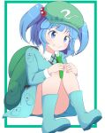 1girl backpack bag blue_eyes blue_footwear blue_hair blue_shirt blue_skirt boots border commentary convenient_leg cucumber eyebrows_visible_through_hair flat_cap food food_on_face green_border green_headwear hair_bobbles hair_ornament hat highres holding holding_food kawashiro_nitori knees_to_chest knees_together_feet_apart light_blush long_sleeves looking_down looking_to_the_side outside_border rubber_boots shirt short_hair simple_background sitting skirt smile solo touhou two_side_up ukigori white_background