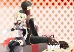 1boy 1girl animal_on_head argyle argyle_background armor artist_name assassin_(ragnarok_online) back-to-back bag bangs black_cat black_coat black_hair black_legwear black_pants blonde_hair candy cape cat cat_on_head chocolate chocolate_bar closed_mouth coat commentary_request cookie copyright_name cover cover_page dated doujin_cover eating eyebrows_visible_through_hair feet_out_of_frame food green_eyes holding holding_bag long_sleeves looking_afar looking_at_viewer muffin negi_mugiya on_head open_mouth pants pauldrons priest_(ragnarok_online) purple_cape purple_shirt ragnarok_online red_coat shirt short_hair shoulder_armor sitting thigh-highs torn_cape torn_clothes two-tone_coat waist_cape