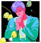 1boy aqua_jacket black_background border butterflyfish cigarette closed_eyes denjinq fish highres jacket long_sleeves male_focus original purple_hair shadow shirt shirt_tucked_in short_hair smoking solo upper_body white_border white_shirt