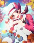1girl :d amegnco3 artist_name autumn_leaves blue_sky blurry blurry_background blurry_foreground bow brown_eyes brown_hair day gen_2_pokemon hat hat_bow highres holding holding_leaf leaf lens_flare long_hair long_sleeves low_twintails lyra_(pokemon) maple_leaf marill open_mouth outdoors pokemon pokemon_(creature) pokemon_(game) pokemon_hgss red_bow red_shirt shiny shiny_hair shirt sky smile solo suspenders twintails white_headwear white_legwear