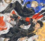 1girl 2boys armor armored_boots black_footwear black_gloves black_hair black_pants blonde_hair blue_cape boots cape claude_von_riegan closed_eyes closed_mouth cravat dimitri_alexandre_blaiddyd edelgard_von_hresvelg fire_emblem fire_emblem:_three_houses fork garreg_mach_monastery_uniform gauntlets gloves gotou_(pixiv37128) hair_ribbon long_hair long_sleeves lying multiple_boys on_back on_side pants pantyhose parted_lips plate red_cape red_legwear ribbon signature spoon white_gloves white_hair white_neckwear yellow_cape