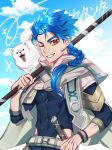 1boy 1other abs animal asymmetrical_bangs bangs belt blue_hair blue_sky bodysuit bodysuit_under_clothes bracelet braid braided_ponytail capelet closed_mouth clothing_cutout clouds cloudy_sky cu_chulainn_(fate)_(all) dog dol_ishi earrings fate/grand_order fate/grand_order_arcade fate_(series) grin high_collar highres holding holding_staff hood hood_down hooded_capelet jewelry long_hair looking_at_viewer male_focus muscular muscular_male one_eye_closed ponytail puppy red_eyes setanta_(fate) skin_tight sky slit_pupils smile solo spiky_hair staff thigh_cutout