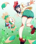 1girl :d absurdres beanie black_hair blush boots bracelet commentary_request feathers floral_print gen_7_pokemon green_shorts grey_eyes hat highres jewelry looking_at_viewer looking_back negimiso1989 open_mouth pokemon pokemon_(creature) pokemon_(game) pokemon_sm red_footwear red_headwear rowlet selene_(pokemon) shirt shorts smile spread_fingers starter_pokemon tied_shirt tongue yellow_shirt z-ring